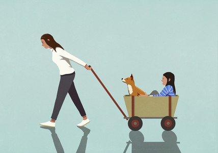 Woman pulling daughter and dog in wagon