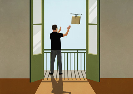 Man reaching for drone package delivery on sunny balcony