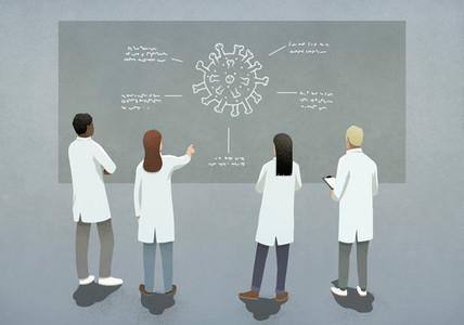 Scientists discussing COVID 19 coronavirus diagram