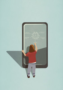 Girl diagraming COVID 19 coronavirus on large smart phone screen