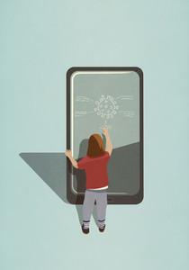 Girl diagraming COVID 19 coronavirus on large smart phone screen