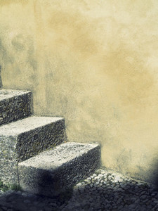 Concrete steps against wall