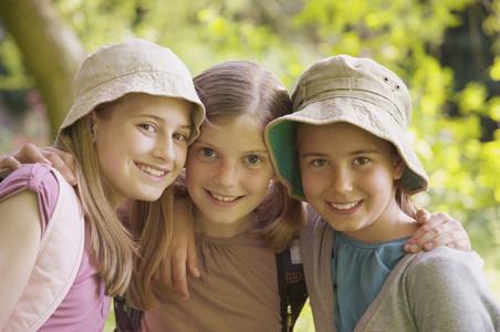 Portrait happy girl friends