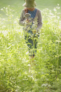 Girl with magnifying glass examining plants and flowers