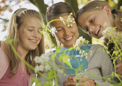 Smiling curious girls with magnifying glass examining flowers