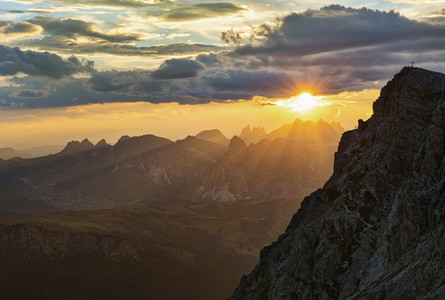 Scenic view sunset over majestic Dolomites Mountains