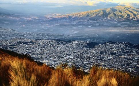 Aerial view Quito cityscape and mountains