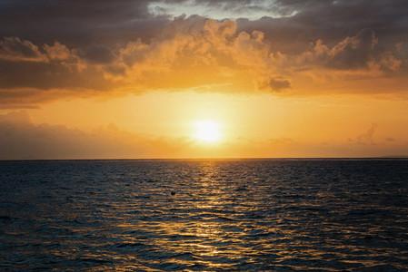 Idyllic sunset over ocean Nusa Dua