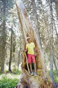 Portrait happy boy at split tree trunk hiking in woods