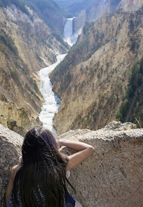 Girl enjoying scenic river view