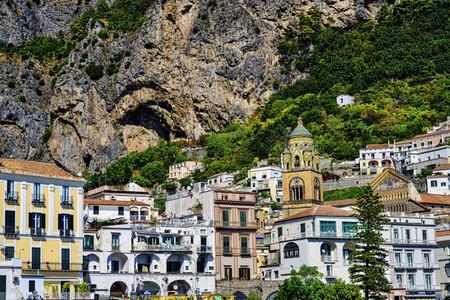 View of Amalfi architecture below cliffs