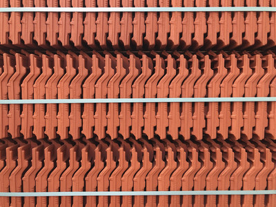 Packed red roof tiles