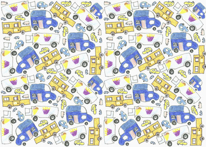 Childs drawing delivery truck pattern on white background