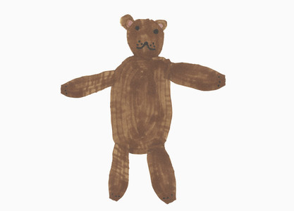 Childs drawing cute brown teddy bear on white background