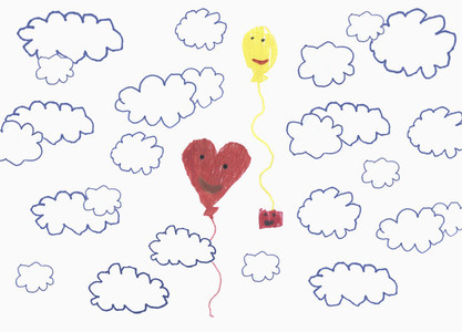 Childs drawing anthropomorphic balloons floating in cloudy sky