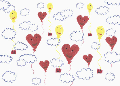 Childs drawing anthropomorphic balloon pattern in cloudy sky