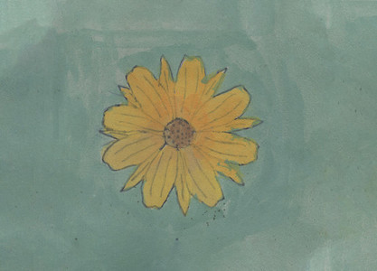 Yellow flower painted on green background