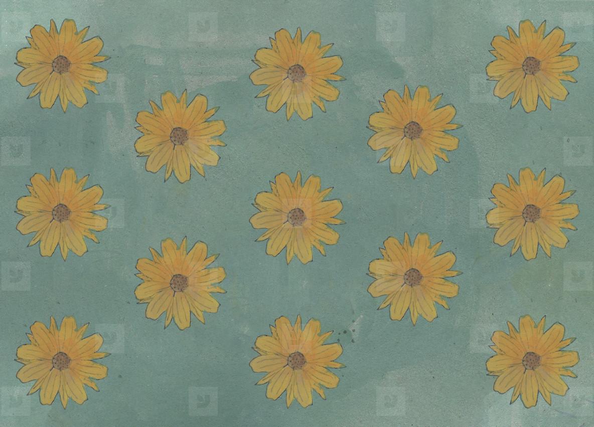 Yellow flower pattern on green background