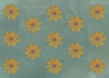 Yellow flower pattern on green background