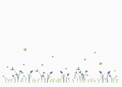 Bumblebees flying above flowers on white background