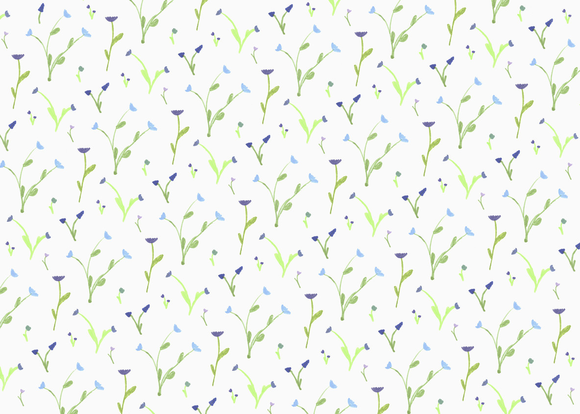 Purple and blue flower pattern on white background