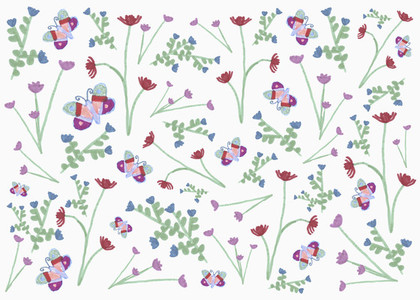 Butterfly and flower pattern on white background