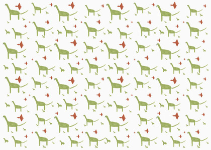 Childs drawing green and red dinosaur pattern on white background