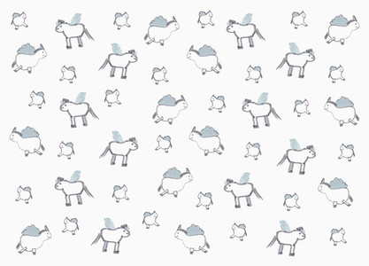 Childs drawing unicorn pattern on white background
