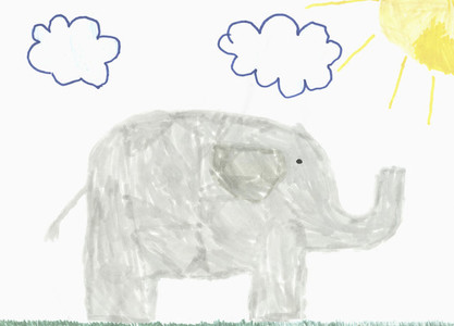 Childs drawing gray elephant