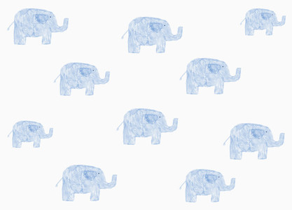 Childs drawing blue elephant pattern on white background