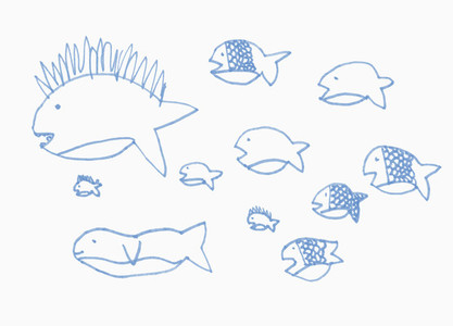 Childs drawing blue fish on white background