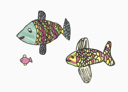 Childs drawing multicolor fish family on white background
