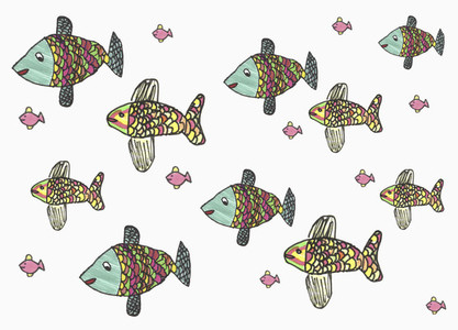 Childs drawing multicolor fish on white background
