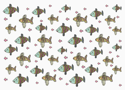 Childs drawing multicolor fish pattern on white background