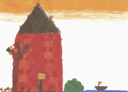 Childs drawing red building