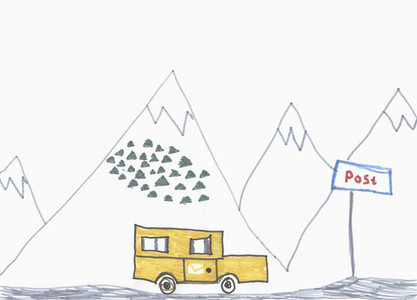 Childs drawing mail truck driving below mountains