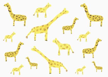 Childs drawing yellow giraffe pattern on white background