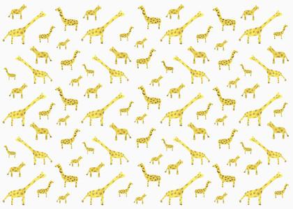 Childs drawing tiny yellow giraffe pattern on white background