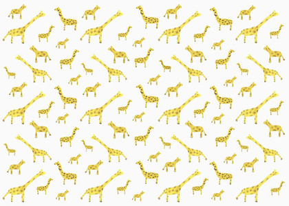 Childs drawing tiny yellow giraffe pattern on white background