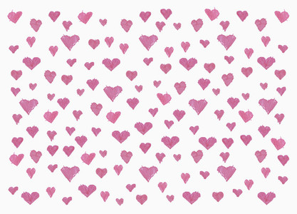 Childs drawing pink heart pattern on white background