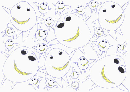 Childs drawing happy cute monster pattern on white background