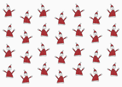 Childs drawing Santa Claus pattern on white background