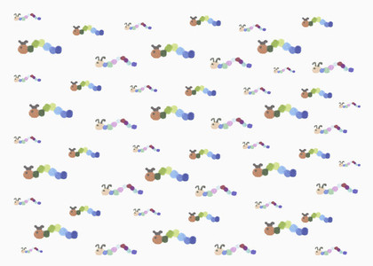 Childs drawing multicolor caterpillar pattern on white background