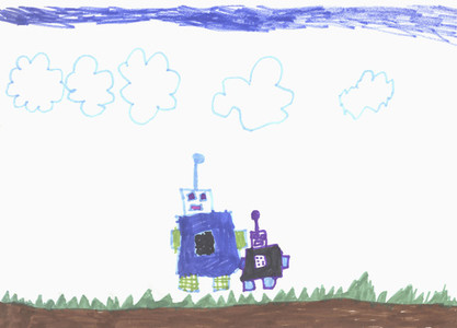Childs drawing anthropomorphic robots below cloudy sky
