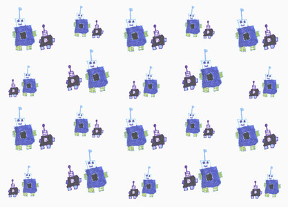 Childs drawing blue anthropomorphic robot pattern on white background