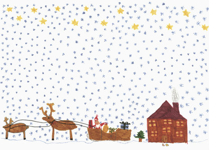 Childs drawing Santa Claus in sleigh with reindeer delivering presents