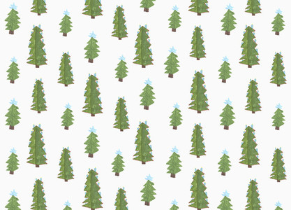Childs drawing green Christmas tree pattern on white background