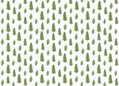Childs drawing tiny green Christmas trees on white background