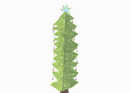 Childs drawing decorated Christmas tree with star on white background