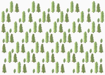 Childs drawing green tree pattern on white background